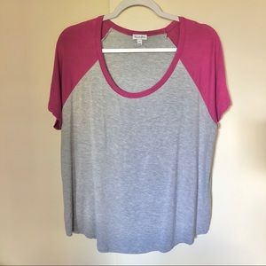 Love, Fire gray//pink color block tee Size L